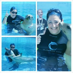 Nancy Beth and #FlatLola swimming and loving on the sea lion
