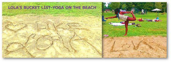 Maya doing yoga on the beach for Lola <3