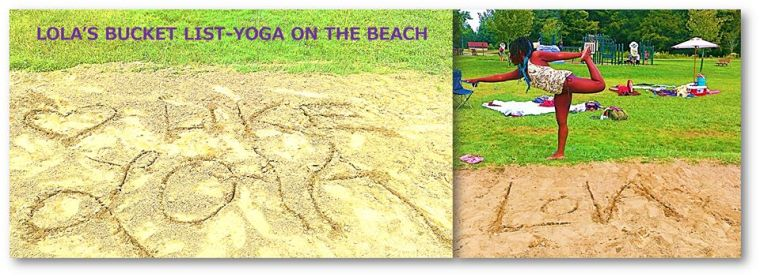 Maya doing yoga on the beach for Lola <3